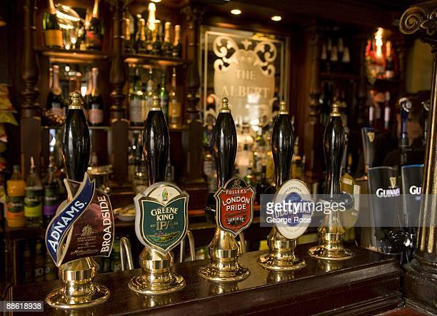Beer taps at The Albert Pub one of London's oldest drinking establishments is seen in this 2009 London United Kingdom interior cityscape photo