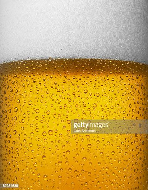 Beer with bubbles and foam