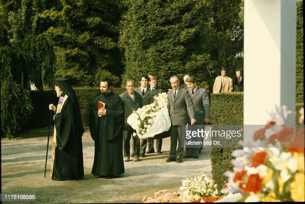 Beerdigung der griechischen Reedersgattin Tina Niarchos, 1974