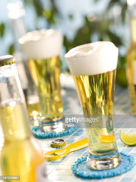 beers outside. - mexican beer stock pictures, royalty-free photos & images