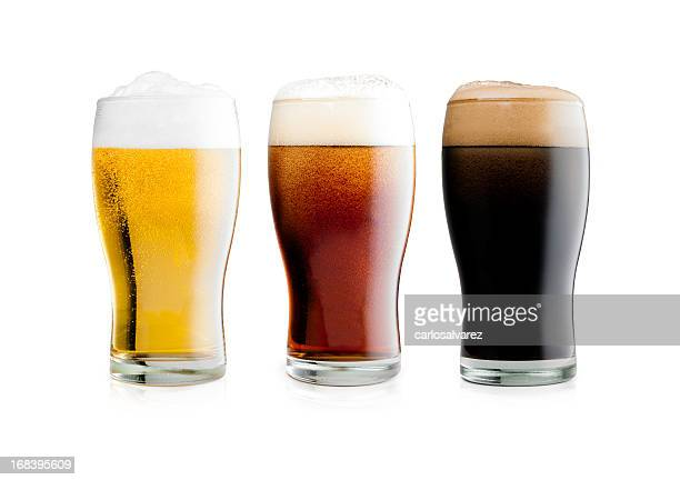 beers with clipping path - ale stock pictures, royalty-free photos & images
