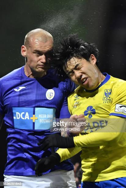 Beerschot's Denys Prychynenko and STVV's Wataru Endo pictured during a soccer match between KFCO Beerschot Wilrijk and SintTruidense VV Wednesday 03...