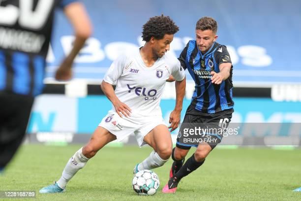 Beerschot's Ryan Sanusi and Club's Siebe Schrijvers fight for the ball during the Jupiler Pro League match between Club Brugge and K Beerschot VA, in...