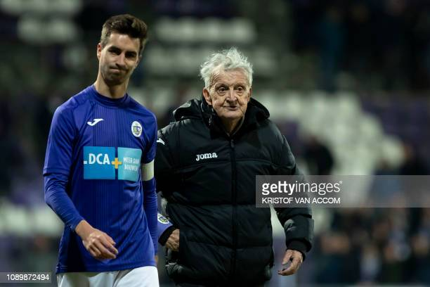 Beerschot's Tom Van Hyfte and Jos Van Hout pictured after a soccer game between Beerschot Wilrijk and KV Mechelen Saturday 26 January 2019 in Antwerp...