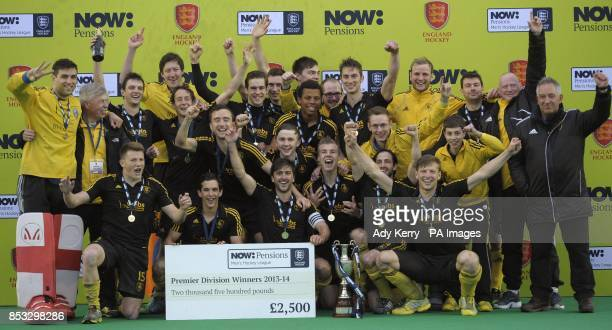 Beeston celebrate their victory over East Grinstead in the NOWPensions Hockey League Championship Final at Reading Hockey Club Reading
