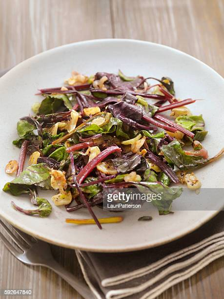 Beet Leaves Sautéed with Butter, Garlic and Onions