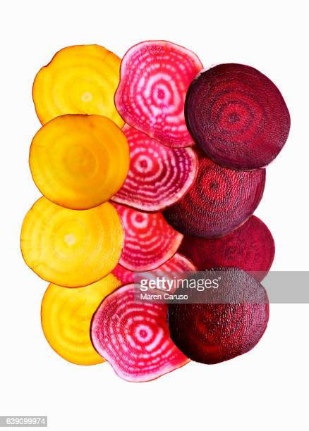 beet slices - root vegetable stock pictures, royalty-free photos & images