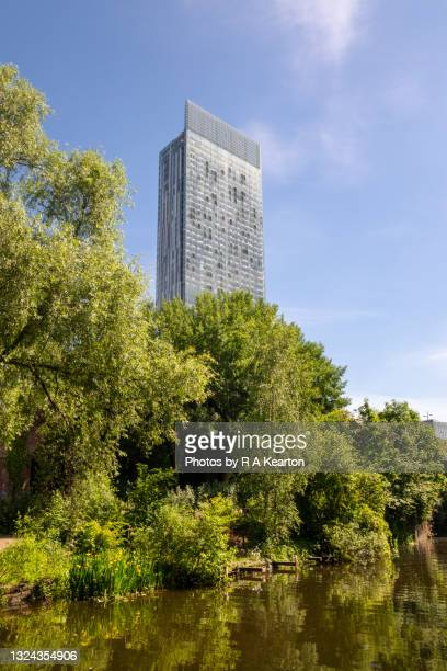 beetham tower and rochdale canal, manchester, england - tower stock pictures, royalty-free photos & images
