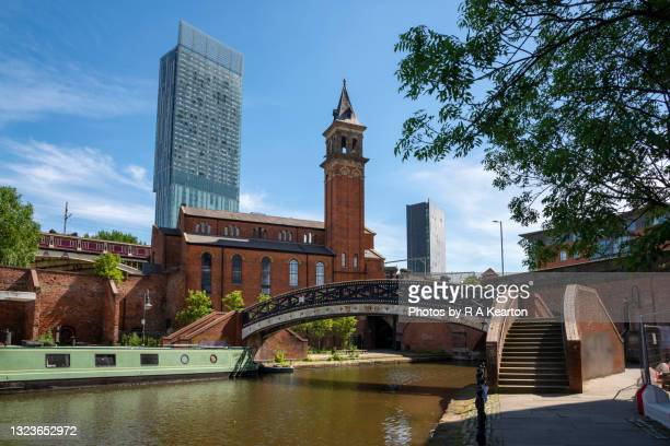 beetham tower from castlefield basin, manchester, england - manchester england stock pictures, royalty-free photos & images