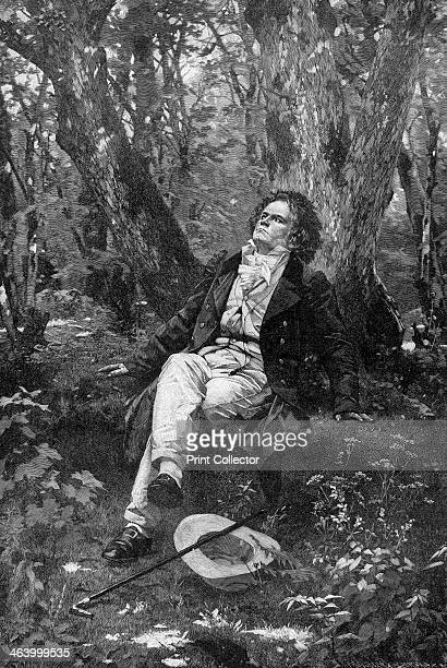 'Beethoven' 1906 A portrait of German composer Ludwig von Beethoven sitting in a wood A print from The Girl's own Paper 18 August 1906
