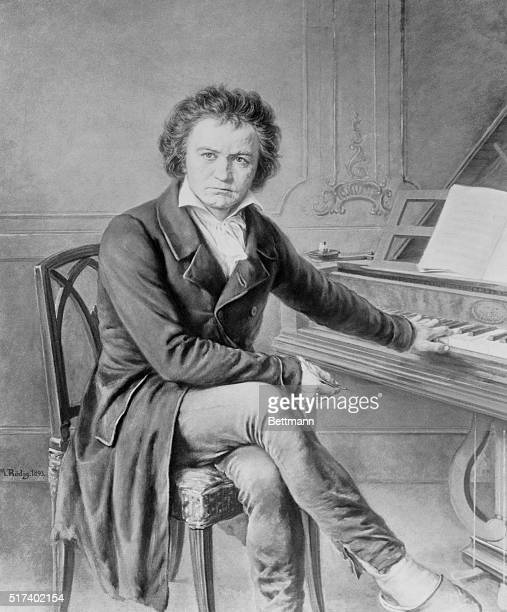 Beethoven at the piano Painting by M Rodig
