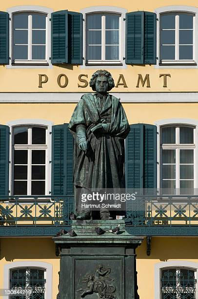 Beethoven statue in front of the post office in the cathedral square, Bonn, North Rhine-Westphalia, Germany, Europe