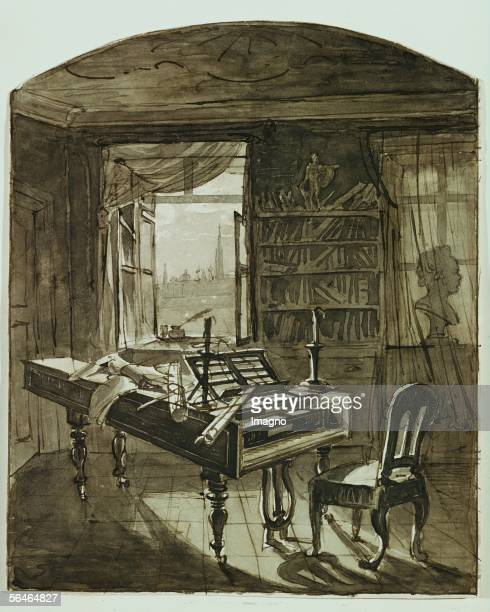 Beethoven's study in the Schwarzspanierhaus in Vienna Johann Baptist Hoechle Around 1820 [Beethovens Studierzimmer in der Schwarzspanierstrasse...