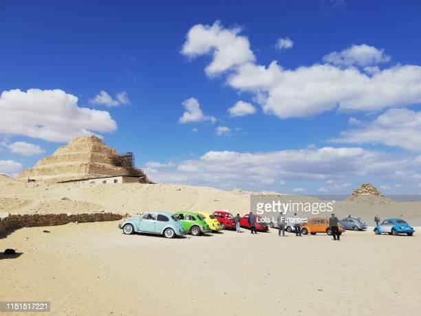 Beetle cars at the funerary complex and steep pyramid of Djoser. Saqqara.