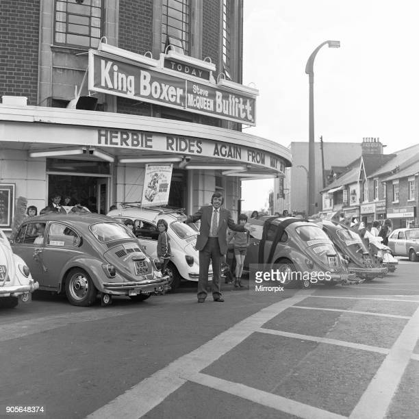 VW Beetles gather at the Odeon Cinema on the Newport Road to promote 'Herbie Rides Again' motion picture Circa May 1974