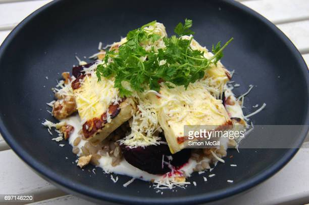 Beetroot and haloumi salad with barley, honey yoghurt, preserved lemon, walnuts and chervil