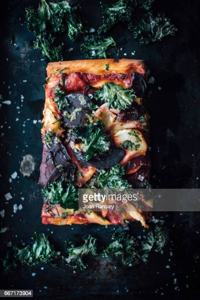 Beetroot, artichoke and goat cheese pizza with crispy kale