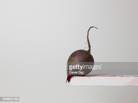 Beetroot balanced on the edge of a ledge
