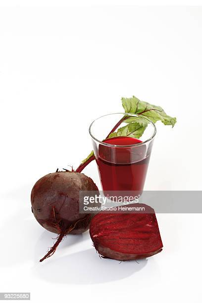 Beetroot juice and beetroot, elevated view, close-up