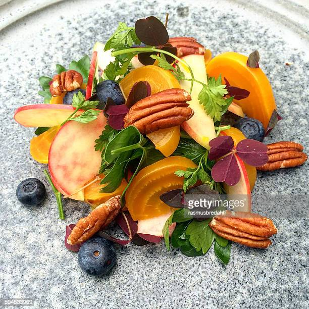 Beetroot, pecan, blueberry, apple  and parsley salad