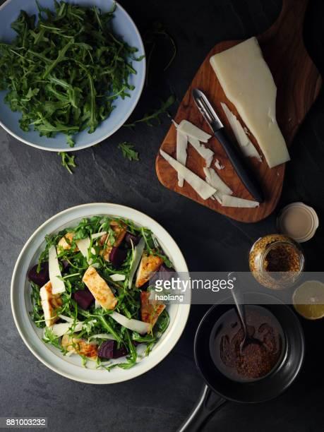 Beetroot rocket and chicken salad