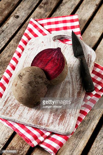 Beetroot, sliced ??on a wooden board