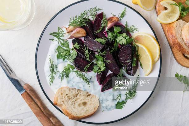 beetroot with herby yogurt dip, vegetarian snack - savory food stock pictures, royalty-free photos & images