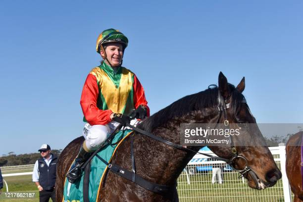 Beetwentynine ridden by Christine Puls returns to the mounting yard after winning the Bendigo Door Centre Maiden Plate at Donald Racecourse on June...