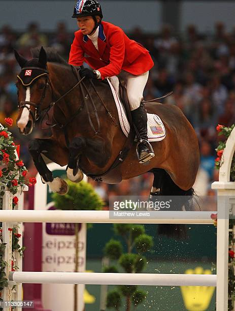 Beezie Madden of the United States riding Danny Boy in action during the Rolex FEI World Cup Jumping Final 2011 at the Messegelande on May 01 2011 in...