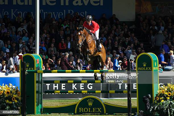 Beezie Madden of the United States riding Simon competes in the individual jumping equestrian on the final day of the Masters tournament at Spruce...