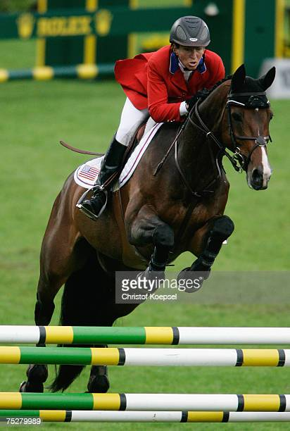 Beezie Madden of the USA rides on Authentic during the team jumping nation prize on Day 3 of the CHIO Aachen 2007 on July 05 2007 in Aachen Germany