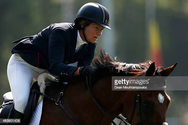 Beezie Madden of the USA riding Simon competes in the Class 01 CSI5* 145m Two Phases A A against the clock during the Longines Global Champions Tour...