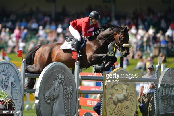 Beezie Madden of USA riding Breitling LS during the ATCO Founders Classic individual jumping equestrian event on the second day of the Spruce Meadows...