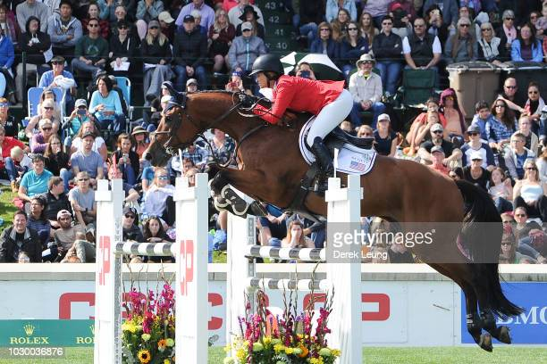 Beezie Madden of USA riding Coach competes in the individual jumping equestrian on the final day of the Masters tournament at Spruce Meadows on...