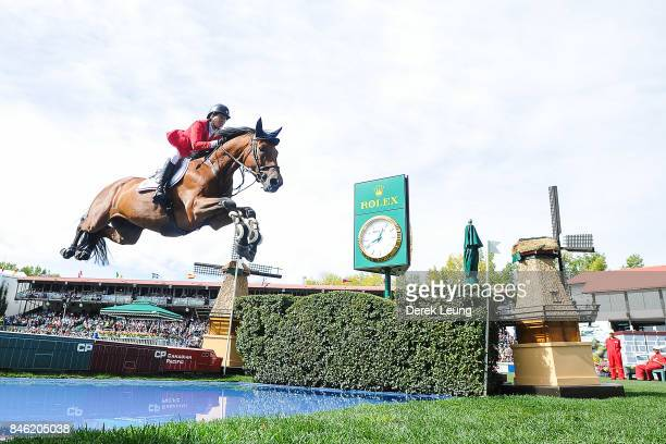 Beezie Madden rides in the individual jumping equestrian on the final day of the Masters tournament at Spruce Meadows on September 10 2017 in Calgary...