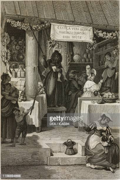 Befana market scene Rome Lazio engraving by Rouargue from a drawing by HaudebourtLescot from L'Italia descritta e dipinta by LouisEustache Audot Tome...