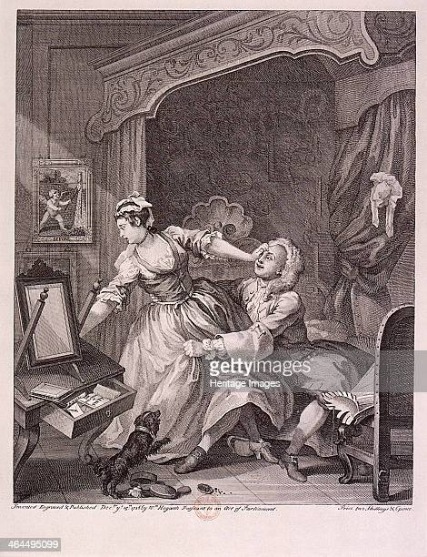 'Before' 1736 a man draws a reluctant and distressed woman toward the bed he is sitting on A dog barks excitedly Second of three states of the plate