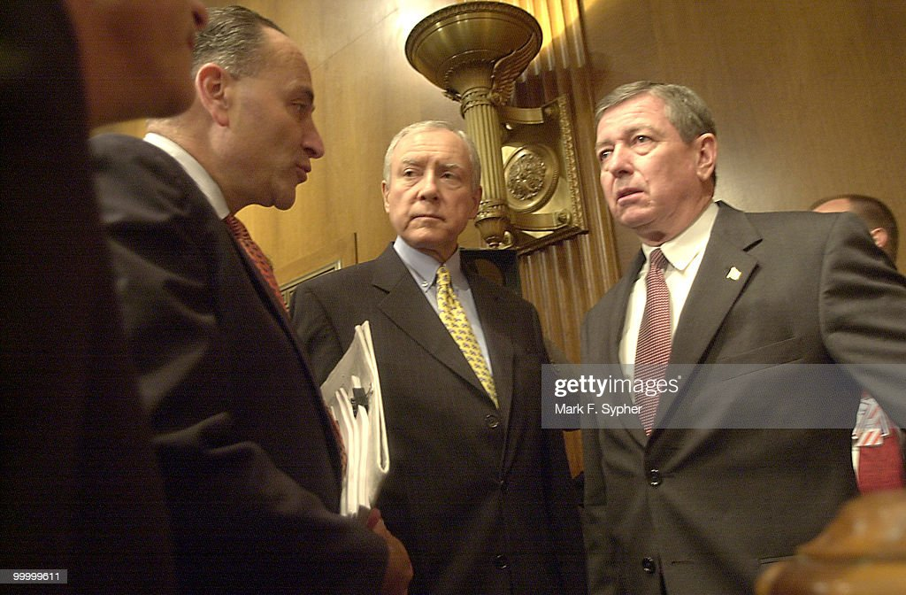 Before a full committee meeting on Tuesday, Senators Charles E. Schumer (D-N.Y.), Orrin G. Hatch (R-Utah) and Attorney General John Ashcroft have a moment to themselves.