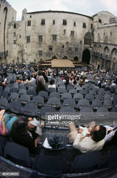 Before a performance in the Palais des Papes courtyard of honour during the Avignon Theatre Festival in July 1977 in Avignon France