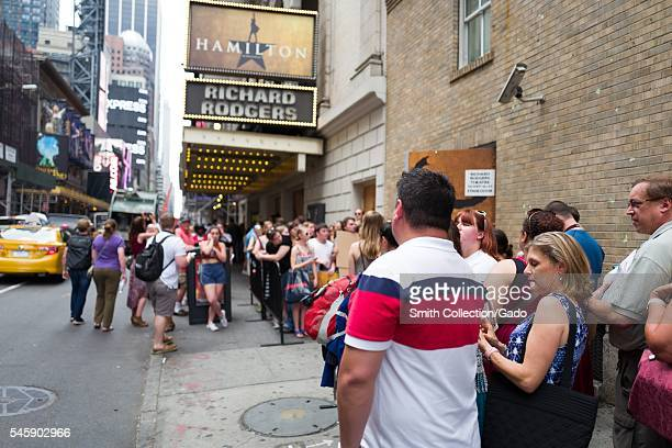 Before a performance of the Broadway musical Hamilton two days prior to creator Lin Manuel Miranda's departure from the show, fans gather at the...