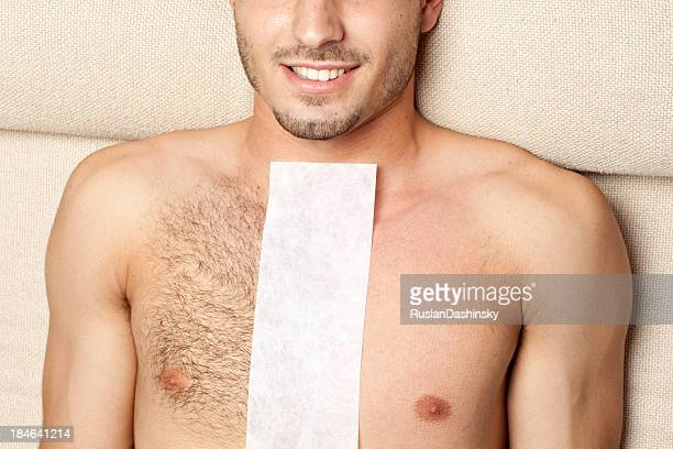 before & after waxing treatment - male torso stock photos and pictures