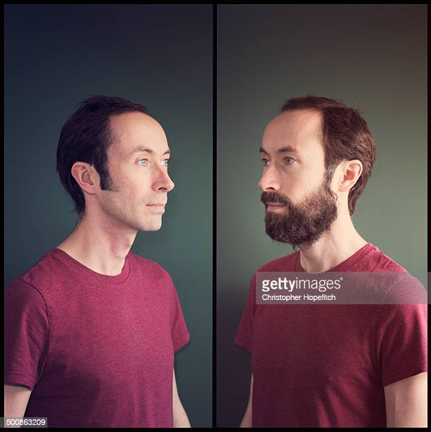 before and after shaving - sideburn stock pictures, royalty-free photos & images