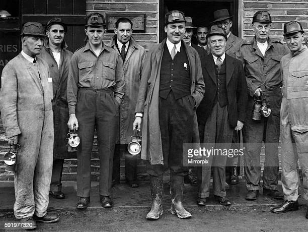 Before entering the Votty underground Quarry Mr Robens poses with mine officials October 1949