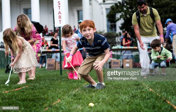 WASHINGTON DC Before President Donald Trump and First Lady Melania Trump arrive kids participate in Easter egg rolls at the 139th White House Easter...