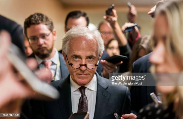 WASHINGTON DC Before Senate policy luncheons Senator Bob Corker answers questions from crowds of journalists on Capitol Hill in Washington DC Tuesday...