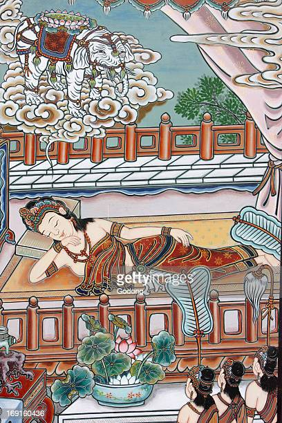 Before Siddartha Gautama's birth his mother dreamt of a white elephant presenting her with a lotus flower