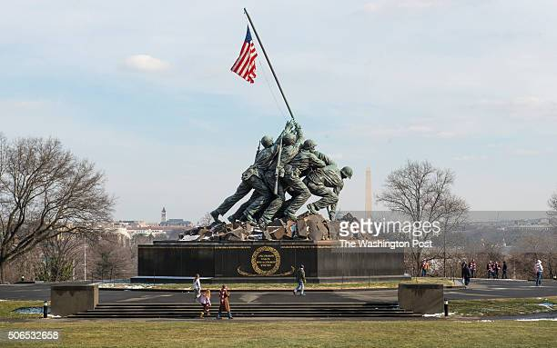 Before snow picture of Marine Corp War Memorial aka Iwo Jima Memorial in Washington DC on January 21 2016
