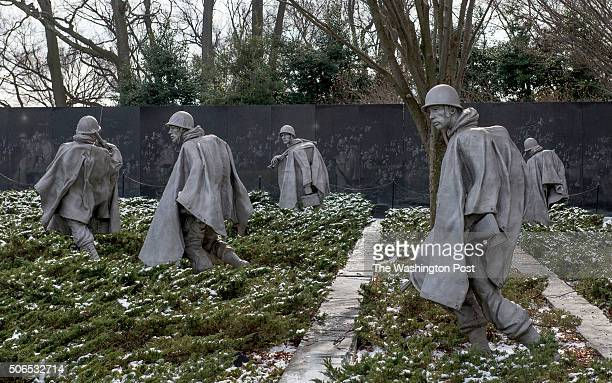 Before snow picture of the Korean War Veterans Memorial in Washington DC on January 21 2016