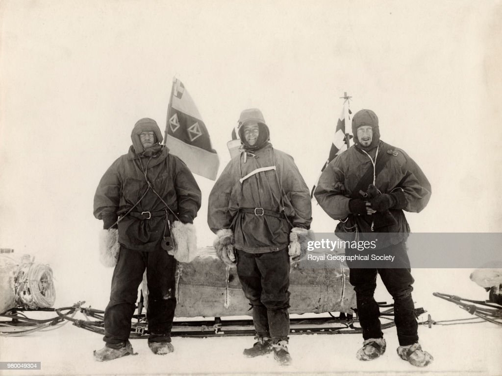 Before starting south - Lieutenant Shackleton, Captain Scott and Dr Wilson, Antarctica, 1901. National Antarctic Expedition 1901-1904.