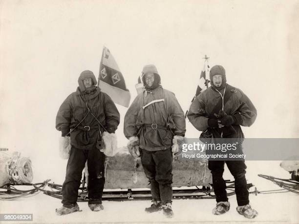 Before starting south Lieutenant Shackleton Captain Scott and Dr Wilson Antarctica 1901 National Antarctic Expedition 19011904
